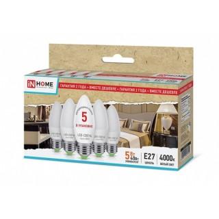 Лампа ASD IN-HOME ECO B35 5Вт E27 4000К 375Лм 5шт