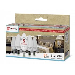 Лампа ASD IN-HOME ECO B35 5Вт E14 4000К 375Лм 5шт