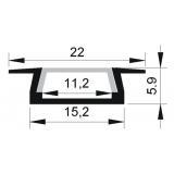 Встраиваемый светодиодный профиль  PAL 2206 22х6мм (2м.)